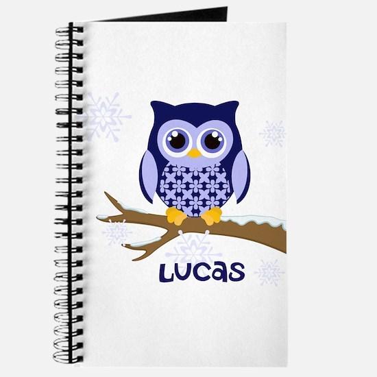 Custom name winter owl blue Journal