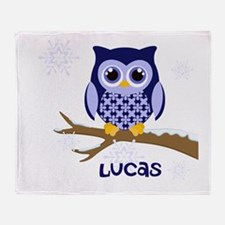 Custom name winter owl blue Throw Blanket