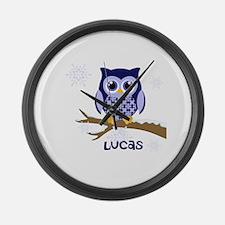 Custom name winter owl blue Large Wall Clock