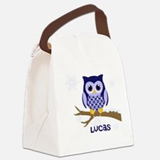 Custom name winter owl blue Canvas Lunch Bag
