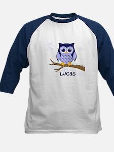 Custom name winter owl blue Kids Baseball Jersey