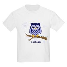 Custom name winter owl blue T-Shirt