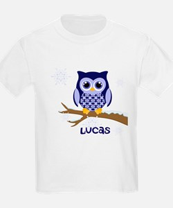 Custom name winter owl blue T-Shirt