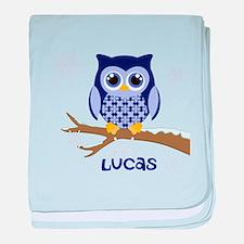 Custom name winter owl blue baby blanket