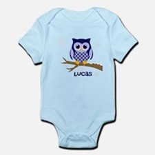 Custom name winter owl blue Infant Bodysuit