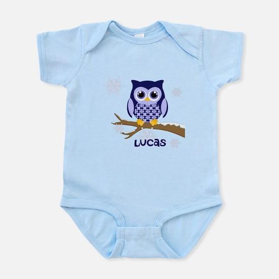 Custom name winter owl blue Infant Bodysuit