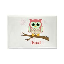 Custom name winter owl girl Rectangle Magnet