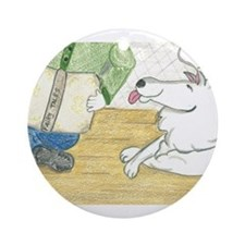 Child reading to dog Ornament (Round)