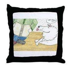 Child reading to dog Throw Pillow
