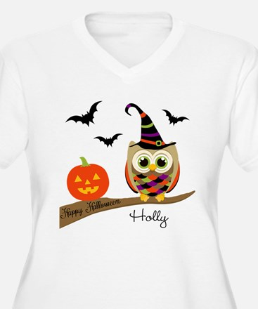 Custom name Halloween owl T-Shirt