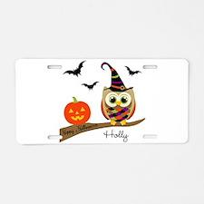 Custom name Halloween owl Aluminum License Plate