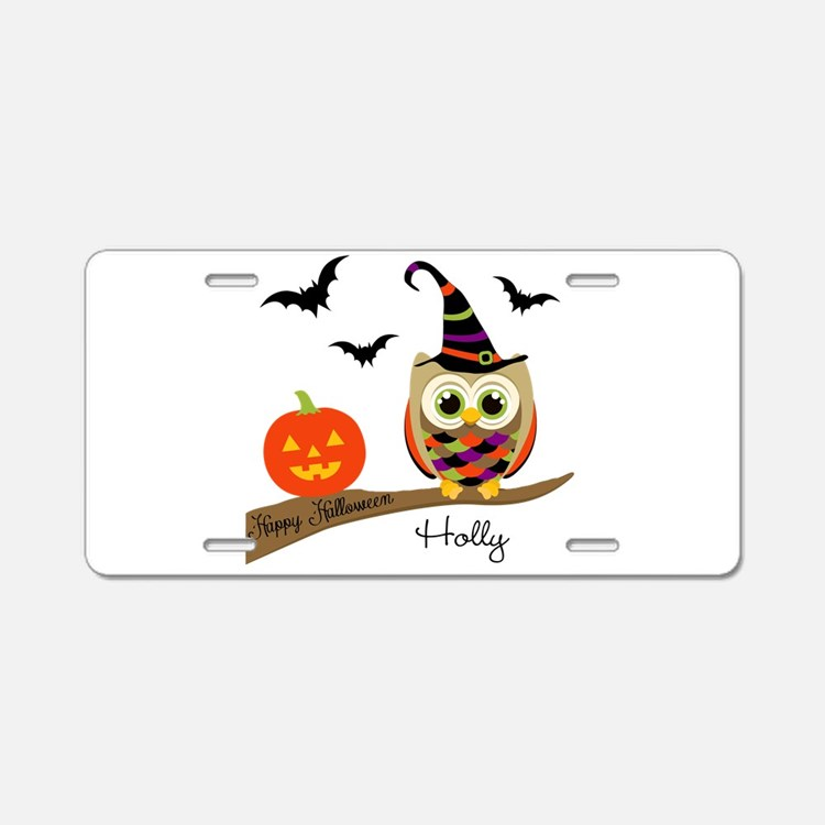 Custom name Halloween owl Aluminum License Plate