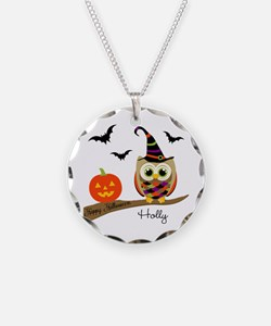 Custom name Halloween owl Necklace