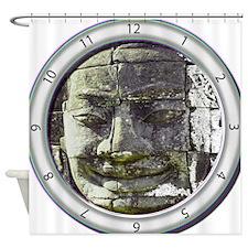 Bayon Buddha Clock Shower Curtain