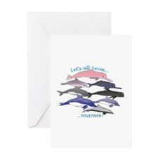 All Dolphins Lets Swim Together Greeting Card