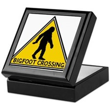 Bigfoot Crossing Caution SIgn Keepsake Box