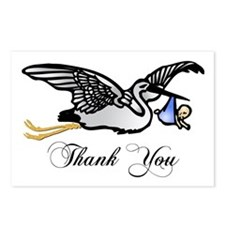 Thank You - Stork with Boy Postcards (Package of 8