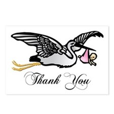 Thank You - Stork with Girl Postcards (Package of