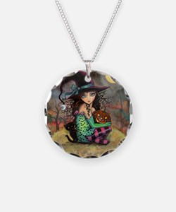 Halloween Hill Necklace Circle Charm