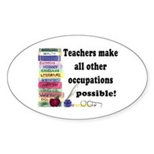 """Teacher Occupations"" Oval Bumper Stickers"