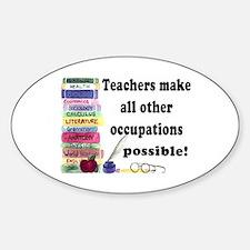 """Teacher Occupations"" Oval Bumper Stickers"