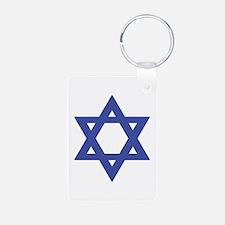 Mogen David (dark blue on white) Keychains
