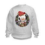Christmas Penguin Holiday Wreath Kids Sweatshirt