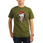Christmas Penguin Holiday Wreath Organic Men's T-S