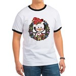 Christmas Penguin Holiday Wreath Ringer T
