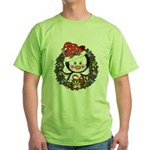 Christmas Penguin Holiday Wreath Green T-Shirt
