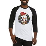 Christmas Penguin Holiday Wreath Baseball Jersey