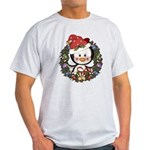 Christmas Penguin Holiday Wreath Light T-Shirt