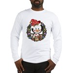 Christmas Penguin Holiday Wreath Long Sleeve T-Shi