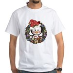 Christmas Penguin Holiday Wreath White T-Shirt