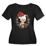 Christmas Penguin Holiday Wreath Women's Plus Size