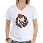 Christmas Penguin Holiday Wreath Women's V-Neck T-