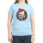Christmas Penguin Holiday Wreath Women's Light T-S