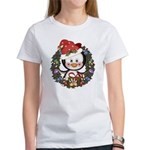 Christmas Penguin Holiday Wreath Women's T-Shirt