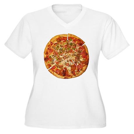 Thank God for Pizza Women's Plus Size V-Neck T-Shi