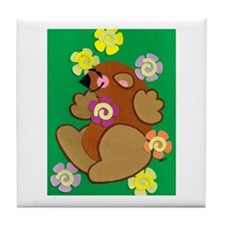 Happy Groundhog Tile Coaster