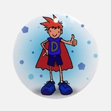 Red Head D-Boy with Insulin Pump Ornament (Round)