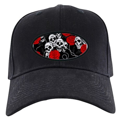 cool skulls and roses designs baseball hat by