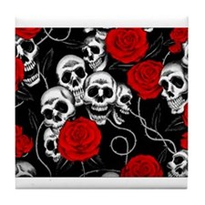 Cool Kids Skulls and Roses Designs Tile Coaster