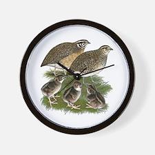 Coturnix Quail Family Wall Clock