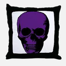 Purple Scary Skull Throw Pillow