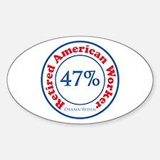 47% Reitred American Sticker (Oval)