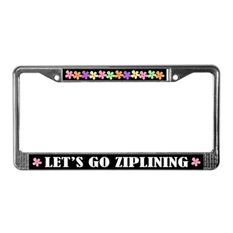Ziplining License Plate Frame