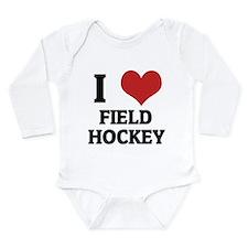 I Love Field Hockey Infant Creeper Body Suit