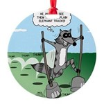 Elephant Tracking Round Ornament