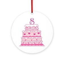 8th Anniversary Cake Ornament (Round)